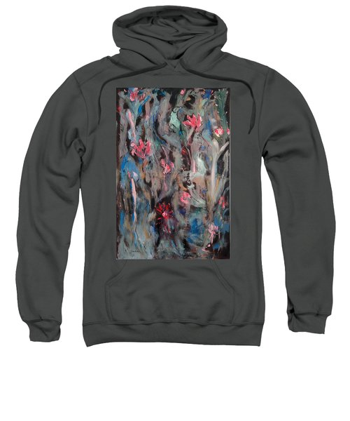 Blue Bird In Flower Garden Sweatshirt