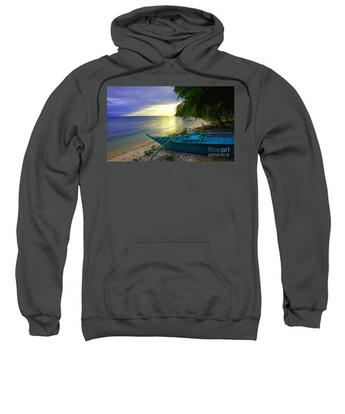 Blue Boat And Sunset On Beach Sweatshirt