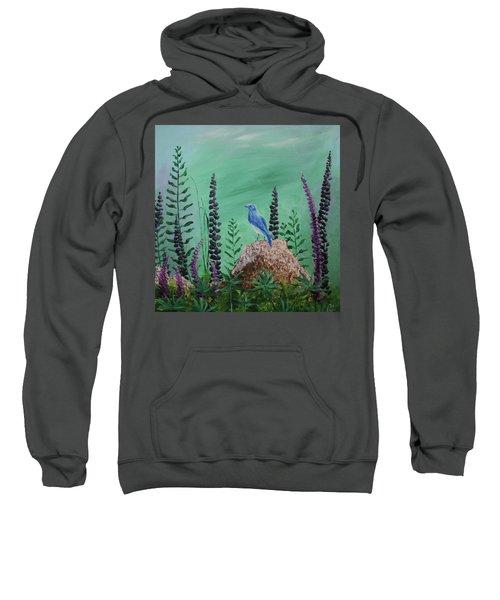 Blue Chickadee Standing On A Rock 2 Sweatshirt