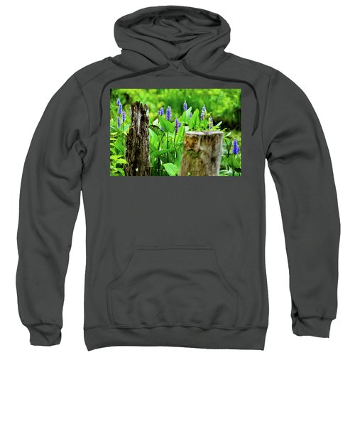 Blue Flowers And Artistic Logs Sweatshirt