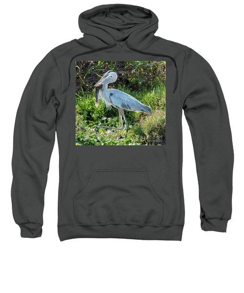 Blue Heron With Fish Sweatshirt