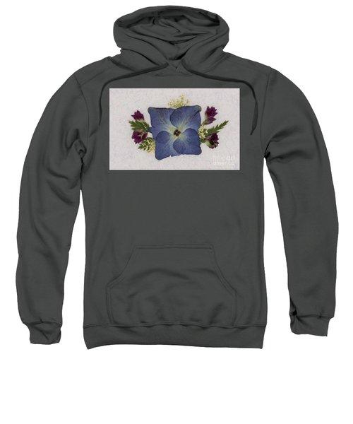 Blue Hydrangea Pressed Floral Design Sweatshirt