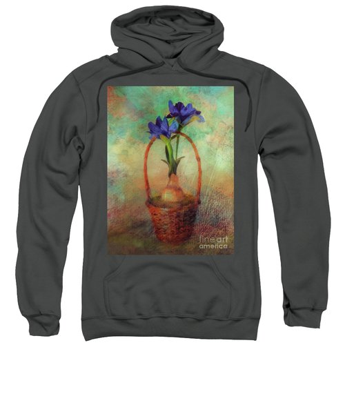 Blue Iris In A Basket Sweatshirt