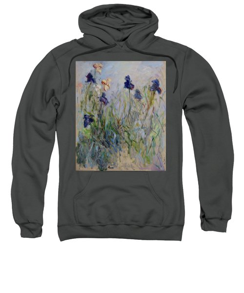 Blue Irises In The Field, Painted In The Open Air  Sweatshirt