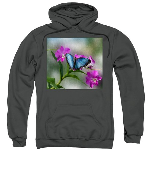 Blue Morpho With Orchids Sweatshirt
