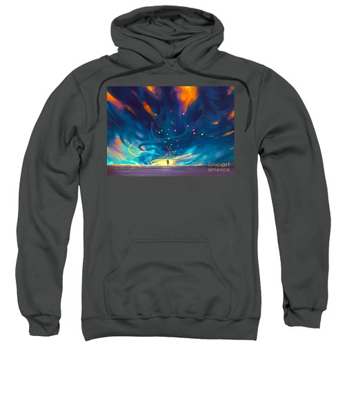 Sweatshirt featuring the painting Blue Tornado by Tithi Luadthong