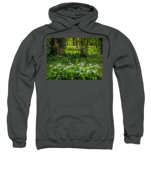 Sweatshirt featuring the photograph Bluebells And Wild Garlic At Coole Park by James Truett