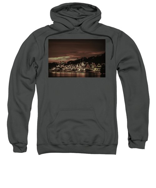 Boathouse Row Philadelphia Pa Night Retro Sweatshirt