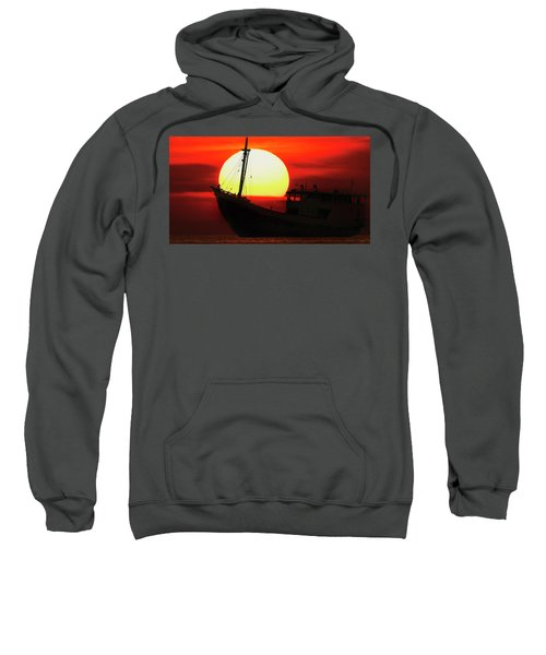 Boatman Enjoying Sunset Sweatshirt