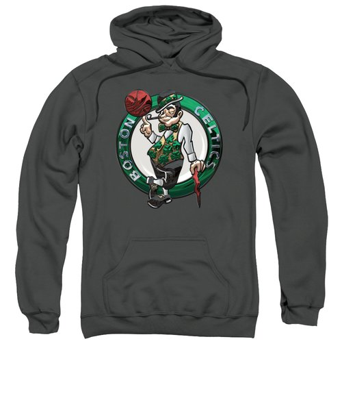 Boston Celtics - 3 D Badge Over Flag Sweatshirt by Serge Averbukh
