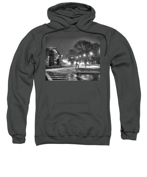 Boston Common Snowstorm Ma Black And White Sweatshirt