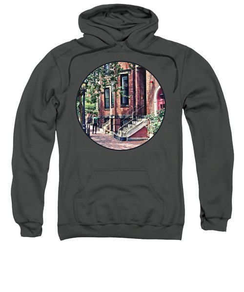 Boston Ma - Walking The Dog On Mount Vernon Street Sweatshirt