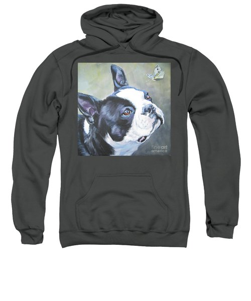boston Terrier butterfly Sweatshirt by Lee Ann Shepard