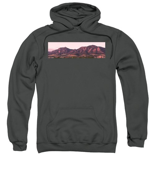 Boulder Colorado Flatirons 1st Light Panorama Sweatshirt