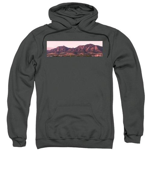 Boulder Colorado Flatirons 1st Light Panorama Sweatshirt