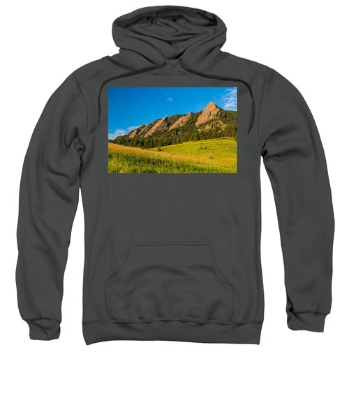 Boulder Colorado Flatirons Sunrise Golden Light Sweatshirt
