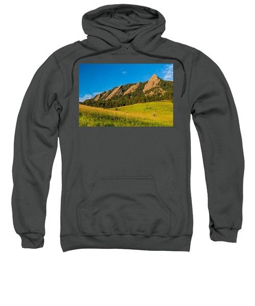 Boulder Colorado Flatirons Sunrise Golden Light Sweatshirt