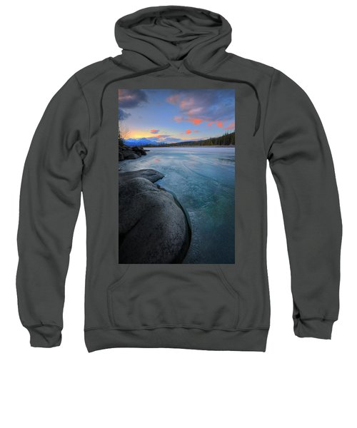 Boulders And Ice On The Athabasca River Sweatshirt