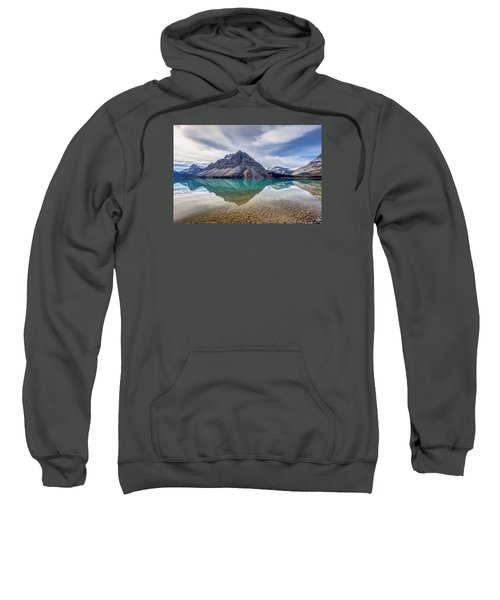 Bow Lake Reflection From Num-ti-jah Lodge  Sweatshirt