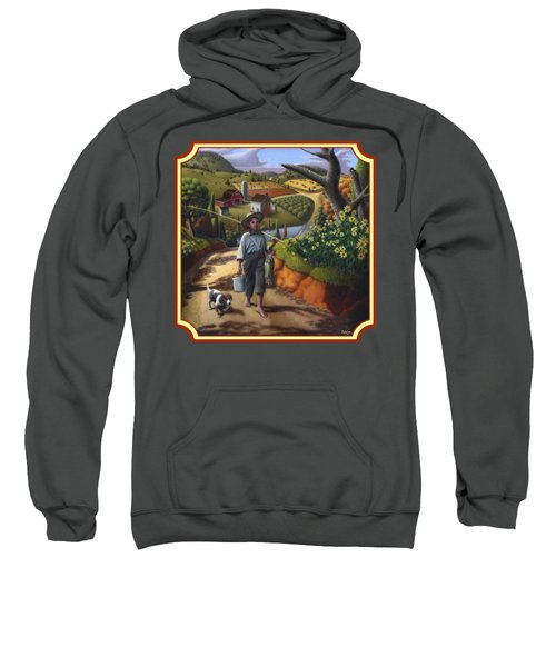 Boy And Dog Country Farm Life Landscape - Square Format Sweatshirt by Walt Curlee