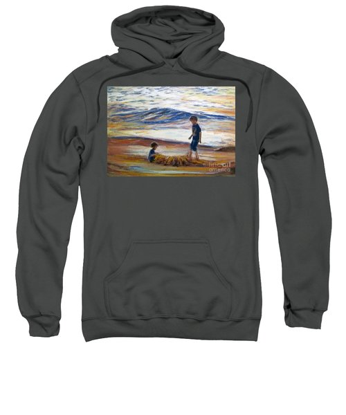 Boys Playing At The Beach Sweatshirt