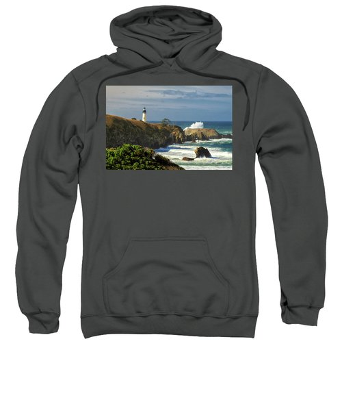 Breaking Waves At Yaquina Head Lighthouse Sweatshirt