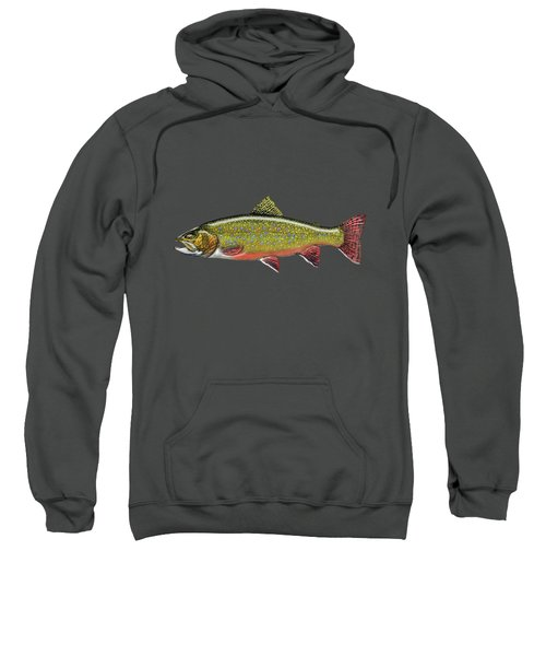 Brook Trout On Red Leather Sweatshirt by Serge Averbukh