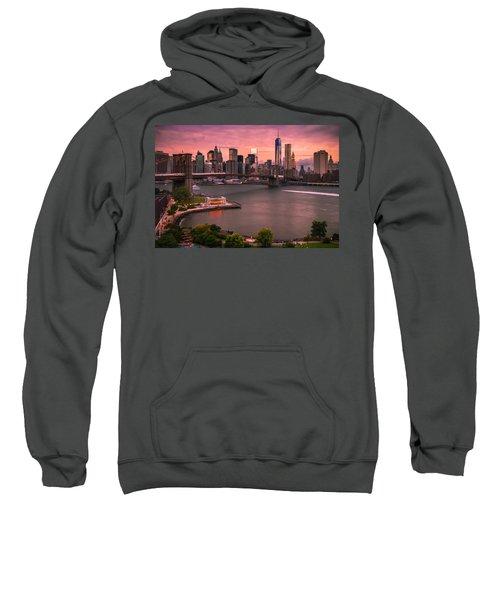 Brooklyn Bridge Over New York Skyline At Sunset Sweatshirt