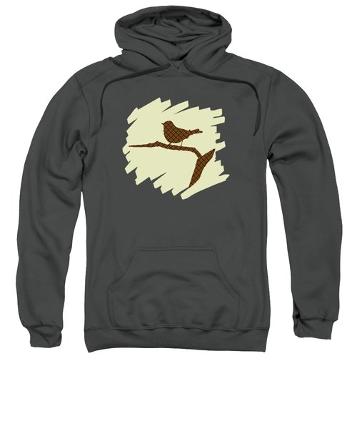 Brown Bird Silhouette Modern Bird Art Sweatshirt by Christina Rollo