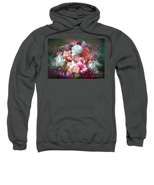 Sweatshirt featuring the painting Bunch Of Roses by Tithi Luadthong