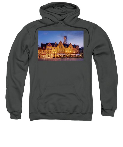 Burg Square Architecture At Night - Bruges Sweatshirt