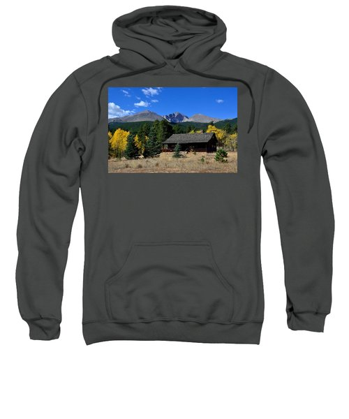 Cabin With A View Of Long's Peak Sweatshirt