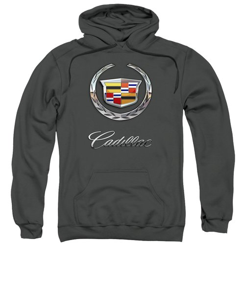 Cadillac - 3 D Badge On Red Sweatshirt by Serge Averbukh