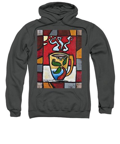 Sweatshirt featuring the painting Cafe Palmera by Oscar Ortiz