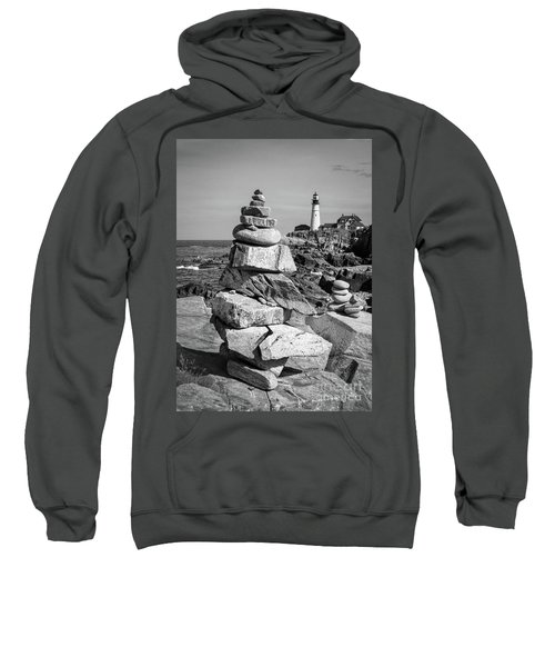 Cairn And Lighthouse  -56052-bw Sweatshirt
