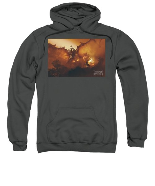 Sweatshirt featuring the painting Calling Of The Dragon by Tithi Luadthong