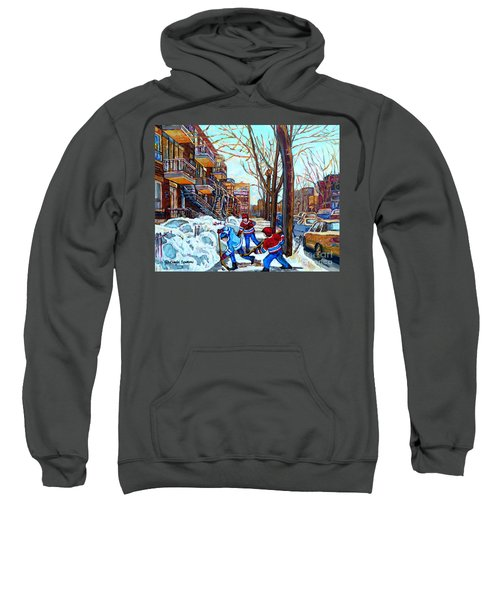 Canadian Art Street Hockey Game Verdun Montreal Memories Winter City Scene Paintings Carole Spandau Sweatshirt