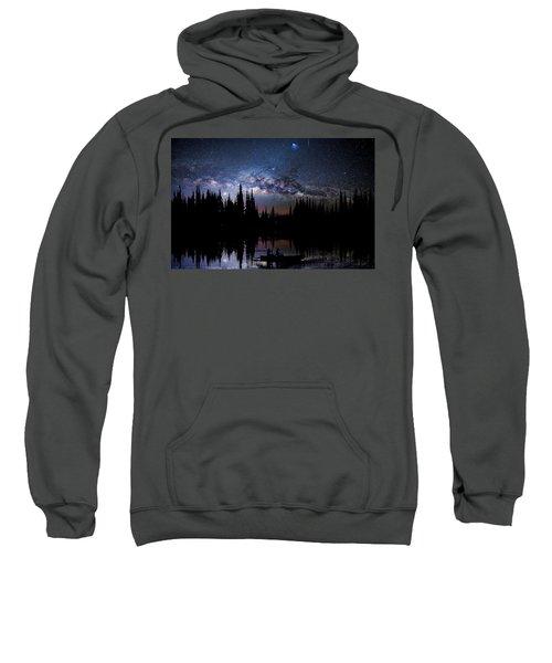 Canoeing - Milky Way - Night Scene Sweatshirt
