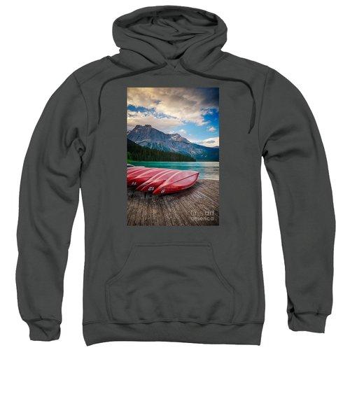 Canoes At Emerald Lake In Yoho National Park Sweatshirt