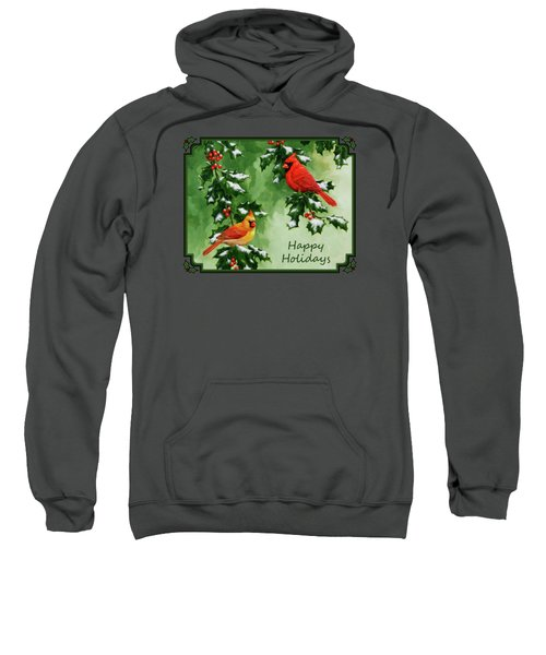 Cardinals Holiday Card - Version With Snow Sweatshirt by Crista Forest
