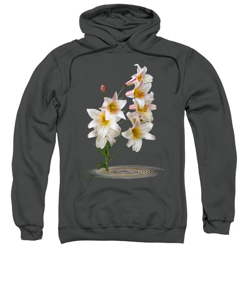 Cascade Of Lilies On Black Sweatshirt