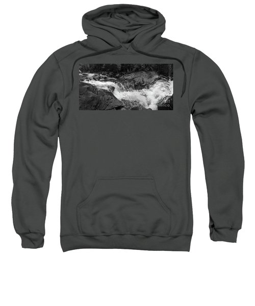 Cascade Stream Gorge, Rangeley, Maine  -70756-70771-pano-bw Sweatshirt