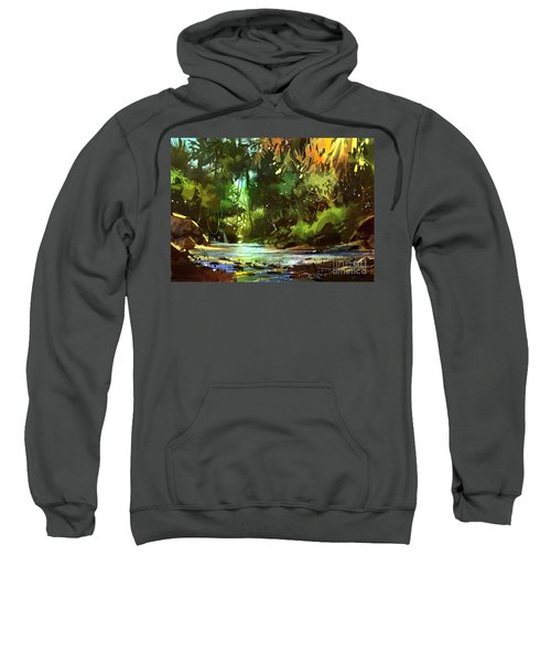 Sweatshirt featuring the painting Cascades In Forest by Tithi Luadthong