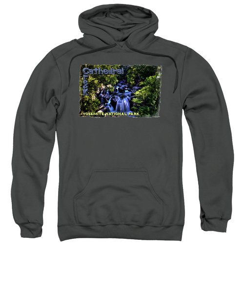 Cathedral Creek Cascade On The Tioga Pass Sweatshirt by Roger Passman