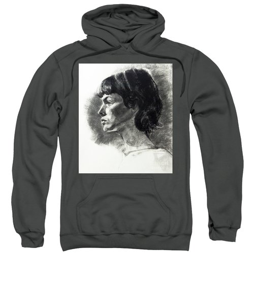 Charcoal Portrait Of A Pensive Young Woman In Profile Sweatshirt