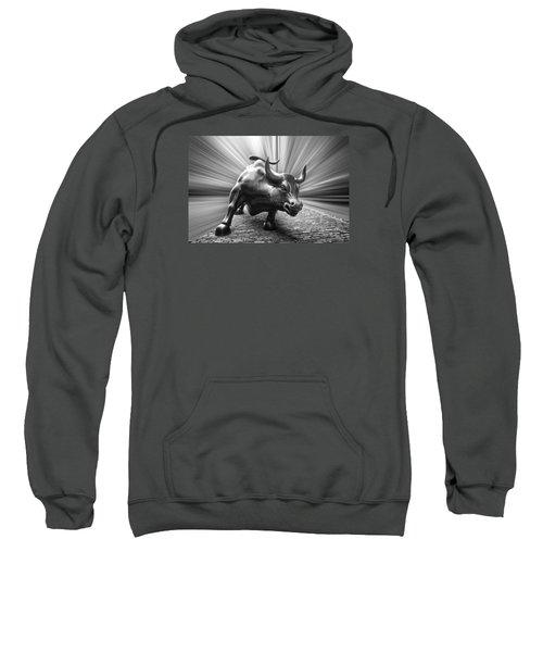 Charging Wall Street Bull B W Sweatshirt
