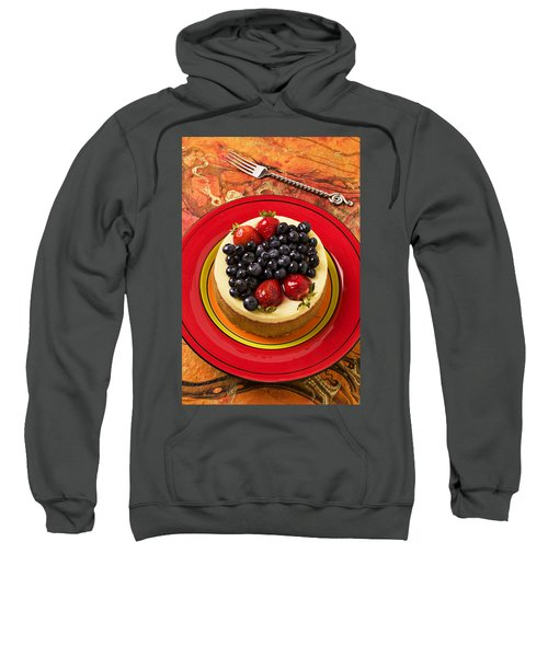 Cheesecake On Red Plate Sweatshirt by Garry Gay