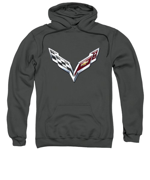 Chevrolet Corvette - 3d Badge On Red Sweatshirt by Serge Averbukh