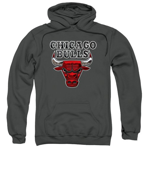 Chicago Bulls - 3 D Badge Over Flag Sweatshirt by Serge Averbukh