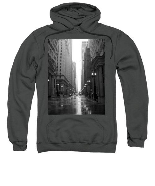 Chicago In The Rain 2 B-w Sweatshirt